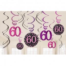 12 Colgantes 60 Años Elegant Pink