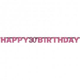 Guirnalda 30 años Happy Birthday Elegant Pink