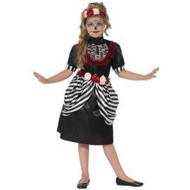 Disfraz de Calavera con Diadema para Niña