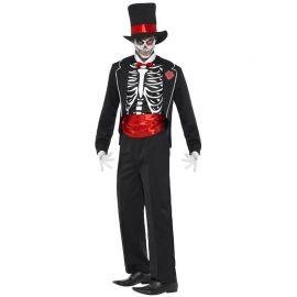 Disfraz de Esqueleto del Día de los Muertos con Fajín