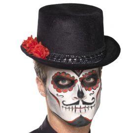 Sombrero Negro con Rosas del Día de los Muertos para mujer
