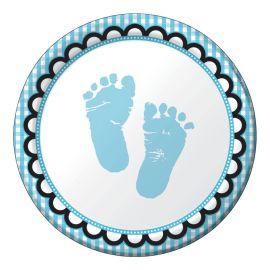 8 Platos Sweet Baby Feet Blue 18 cm