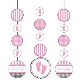 3 Decoraciones Colgantes Sweet Baby Feet Pink
