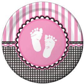 8 Platos Sweet Baby Feet Pink 23 cm
