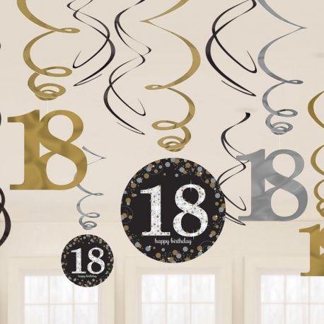 12 Colgantes 18 cumpleaños Elegant