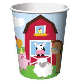 8 Vasos Animales de la Granja 266 ml