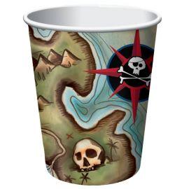 8 Vasos Barco Pirata 266 ml