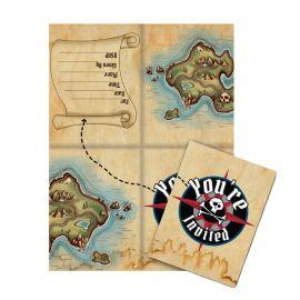 8 Invitaciones Barco Pirata