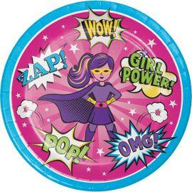 8 Platos Superhero Niña 23 cm