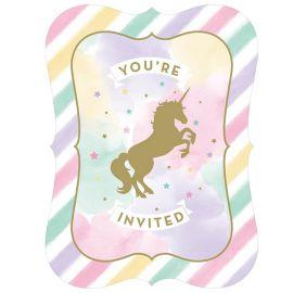 8 Invitaciones Unicornio Sparkle