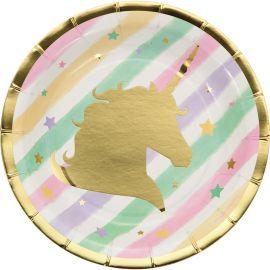 8 Platos Unicornio Sparkle 18 cm