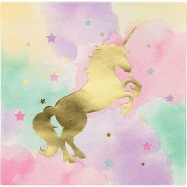 16 Servilletas Unicornio Sparkle 33 cm