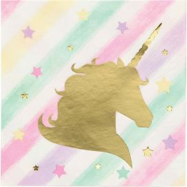 16 Servilletas Unicornio Sparkle 25 cm