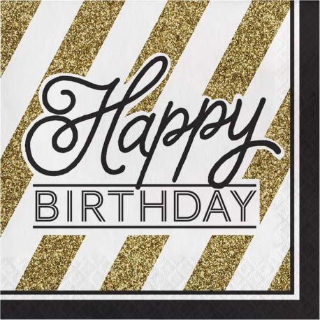 16 Servilletas Negro y Oro Happy Birthday 33 cm