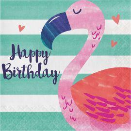 16 Servilletas Tropical Happy Birthday 33 cm