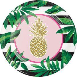 8 Platos Pineapple Wedding 26 cm