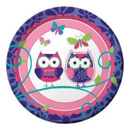 8 Platos Owl Pal Birthday 18 cm