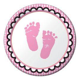 8 Platos Sweet Baby Feet Pink 18 cm