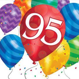 16 Servilletas Balloon Blast 95 Cumpleaños