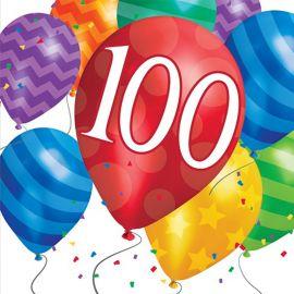 16 Servilletas Balloon Blast 100 Cumpleaños