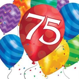 16 Servilletas Balloon Blast 75 Cumpleaños