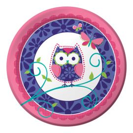 8 Platos Owl Pal Birthday 23 cm