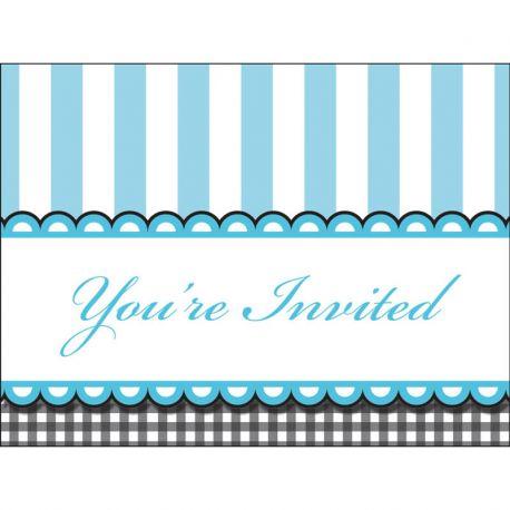 8 Invitaciones Sweet Baby Feet Blue