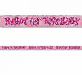 Cartaz Happy Birthday 18 Anos Rosa Glitz