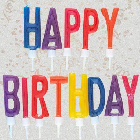 Velas Mágicas con Letras Happy Birthday