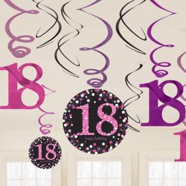 12 Colgantes 18 años Elegant pink