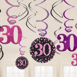 12 Colgantes 30 años Elegant Pink