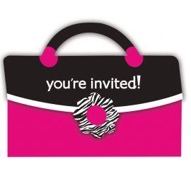 8 Invitaciones Pink Zebra Bolsito