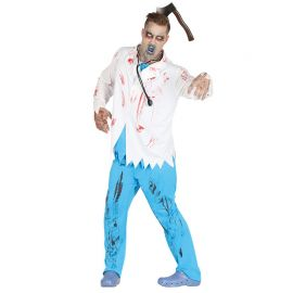 Disfraz de Doctor Zombie para Hombre color Blanco y Azul