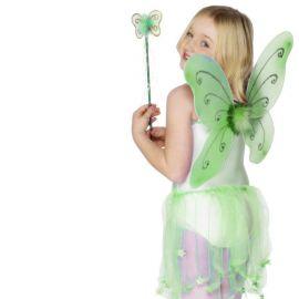 Alas de Mariposa Verde con Varita para Niña