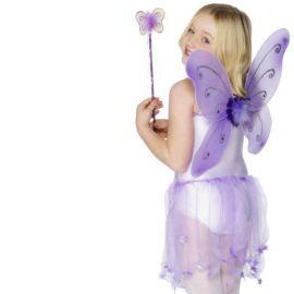 Alas de Mariposa Lila con Varita para Niña