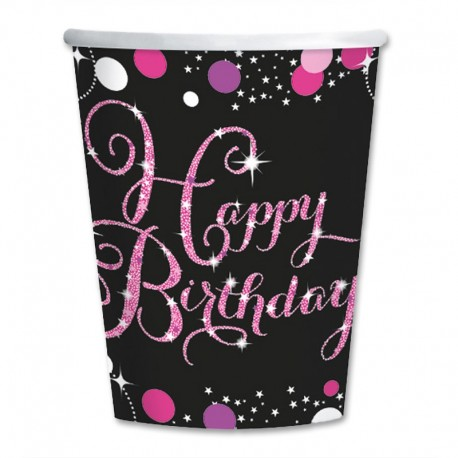 8 Vasos Happy Birthday Elegant Pink 266 ml