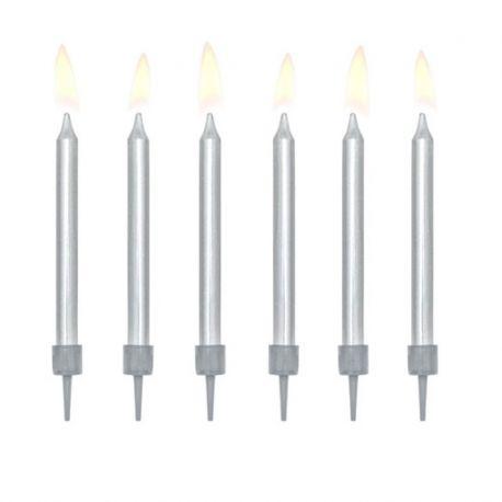 6 Velas para Cumpleaños Metalizadas