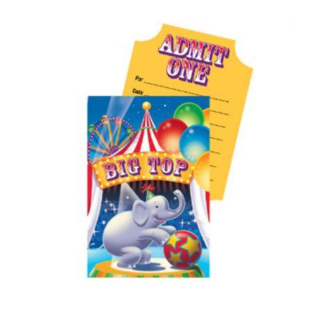 8 Invitaciones Elefante Circo
