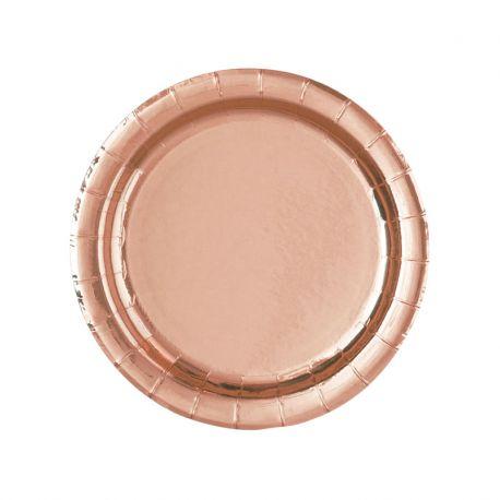 8 Platos Rosa Gold 18 cm