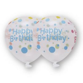 6 Globos Transparentes Happy Birthday 30 cm