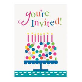 8 Invitaciones Pastel con Confetis
