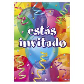 8 Invitaciones con Globos Estás Invitado