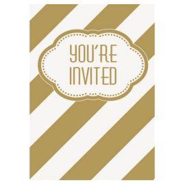 8 Invitaciones Rayas Doradas