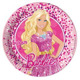 8 Platos Barbie de Cartón 23 cm