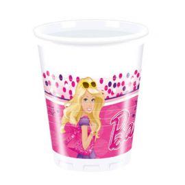 8 Vasos Barbie de Plástico 200 ml