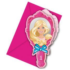 6 Invitaciones Barbie
