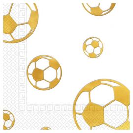 15 Servilletas Fútbol Gold en Relieve