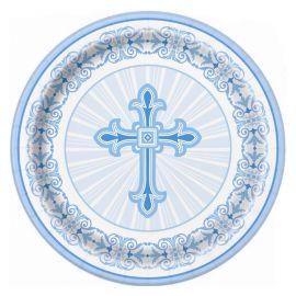 8 Platos Comunión Cruz Azul 23 cm