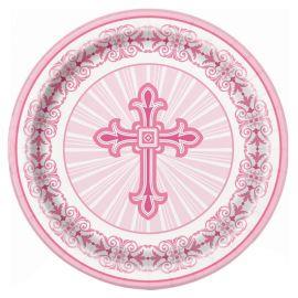 8 Platos Comunión Cruz Rosa 23 cm