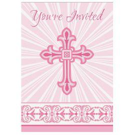 8 Invitaciones Comunión Cruz Rosa